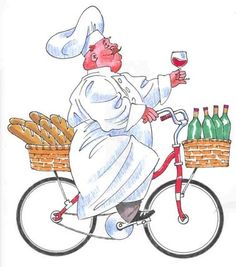 quenalbertini: Chef Bike Detail - Comp by John Bardwell Chef Pictures, Bike Details, Italian Chef, Image Digital, Le Chef, Fabric Painting, Easy Drawings, Caricature, Printable Art