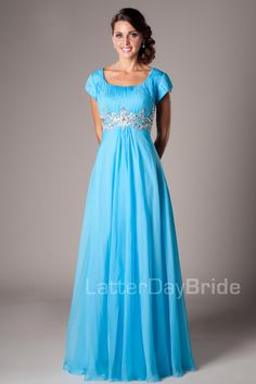 Modest Prom Dresses : Melanie- I am in love with this beautiful sheath style homecoming dress