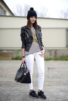 Mango Leather Jacket, Romwe T Shirt, Givenchy Bag, Reebok Sneakers, H Beanie, Suiteblanco Jeans