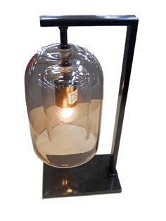 Table Lamp | Hand Finished Oil Rubbed Bronze | Smoke Glass | Double Glass  Shade |