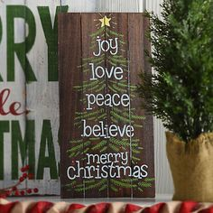 Merry Christmas Tree Pallet Plaque | Kirklands