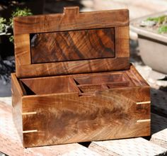 Jewlery Box of Black Walnut and Maple by SierraWoodSculptures, $188.00