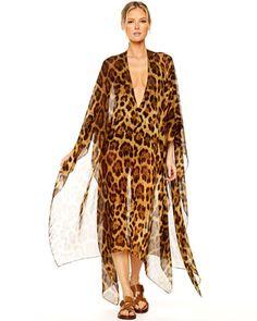 Michael Kors Leopard Chiffon Caftan.