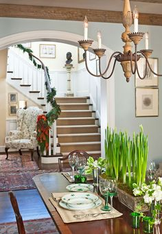 Traditional Home - love this paint color and the china place setting
