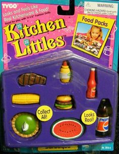 Barbie - Orginal Tyco Kitchen Littles (1995) Barbeque Set by Tyco. $44.99. Includes-steak, hamburger with toppings,corn on the cob,. Rare Barbie Tyco Kitchen Littles Barbeque (Picnic). Key-lime pie, watermelon, Diamond Mustard, Hunt's. Food retired set from 1995.. Ketchup, and a Liter of Pepsi.. Rare 1995 Kichen Littles Barbeque Food for Barbie. All the things Barbie likes to cook during a picnic.