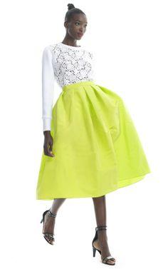 Tibi Kelp Silk Faille Full Skirt