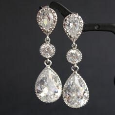 Wedding Jewelry Bridal Earrings Cubic Zirconia Connectors Teardrop Silver Posts Wedding Earrings