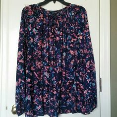 New Ellen Tracy top New without tags, lightweight Peasant top, long sleeves, navy with bright colors, perfect spring top. Never worn. Tie front with gold tie ends, slightly cinched below waist, has bit of a ruffle bottom. Ellen Tracy Tops Blouses
