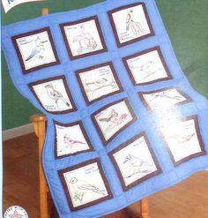 "Jack Dempsey Birds 9"" Stamped White Quilt Blocks 737533 Cross Stitch Embroidery, Quilt Blocks, Needlework, Birds, Stamp, Quilts, Blanket, Country, Dressmaking"