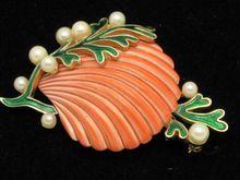 RARE Vintage CROWN TRIFARI Clam Shell Brooch  Pearl Seaweed 1950's