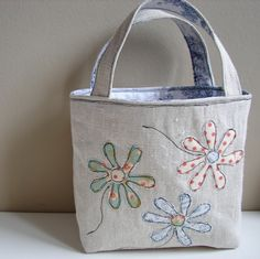 Linen tote - blue flowers, toile lining by Roxy Creations, via Flickr