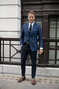 Men in blue style Follow MenStyle1 on: MenStyle1... | MenStyle1- Men's Style Blog