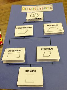 Great way to organize and help students understand the definition of different types of quadrilaterals and how they overlap. -Andrea Hirschfeld