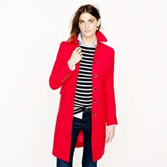 Bright Red + Stripes. Loving the Double-cloth metro coat!