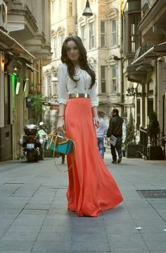 White blouse with golden shining belt and bittersweet long cute maxi dress and cute bondi blue & brown stylish clutch and pumps