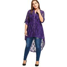 a9077eb2e0172 sheer Plus Size Lace hilo shirt Blouse Top Long Sleeve High Low Black purple