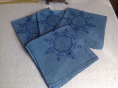Antique Linen Serviettes, Blue Embroidered Napkins, Table Linen Towels. French…