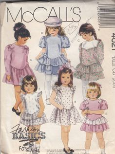Adorable Girls Ruffled Skirt Dress Cap Sleeves -  Flower Girl Easter Dress  - Size 2T-3T-4T  - UNCUT - Sewing Pattern McCall's 4021 by Sutlerssundries on Etsy