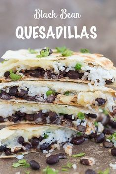 Black Bean Quesadillas with rice and cheese are a fun family dinner recipe #quesadillas #rice #blackbean #mexicanfood #vegetarian Quick Rice Recipes, Vegetarian Rice Recipes, Mexican Food Recipes, Healthy Recipes, Vegetarian Mexican, Vegan Meals, Vegetarian Quesadilla, Quesadilla Recipes, Quesadillas