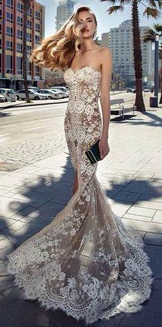 Dark Nude & Lace Wedding Dress