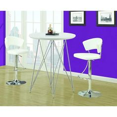 Monarch Specialties - Tabouret de bar hydraulique metal chrome / blanc - I 2301 - Home Depot Canada 198