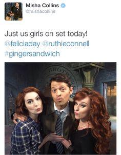 Misha's tweet #Supernatural || Misha Collins || Felicia Day || Ruthie Connell                                                                                                                                                     Mais                                                                                                                                                                                 More