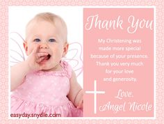 Christening baptism photo thank you card baby girl christening baptism thank you cards wording stopboris Images