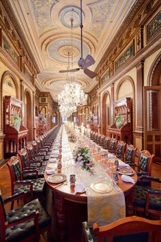 Longest dining room in the world. Falaknuma Palace in Hyderabad, India