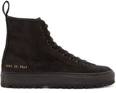 Woman by Common Projects - Black Suede Tournament High-Top Sneakers