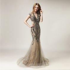 2018 Unique Shining Crystal Celebrity Dresses in Stock Luxury Women Fashion Tulle Dress Long V-Neck Gala Party Gowns Cheap Evening Dresses, Mermaid Evening Dresses, Sexy Wedding Dresses, Evening Gowns, Celebrity Inspired Dresses, Celebrity Dresses, Custom Dresses, Party Gowns, Tulle Dress