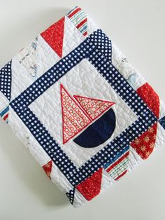 Nautical Sailboat Baby Boy Quilt by SWDesignsBaby on Etsy Nautical Quilt, Nautical Baby, Nautical Theme, Sea Theme, Sewing Projects For Kids, Sewing Crafts, Sewing Ideas, Cot Quilt, Children's Quilts