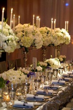 Silver flat ware and gold centerpieces are great mixed metals. In combination with white roses and purple and blue accents the wedding was beyond elegant in the California Wine Country.
