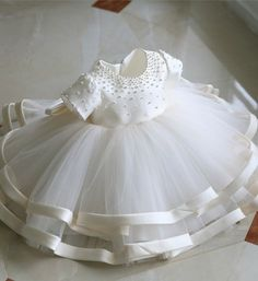 Browse Wonderful collection Girly Shop Made To Order - High Quality Round Neckline Pearl Applique Short Sleeve Big Bow Back Little Girl Party Dress Fr Girls Party Dress, Birthday Dresses, Little Girl Dresses, Girls Dresses, Dress Party, Party Dresses, Baptism Dress, Christening Gowns, Flower Girls