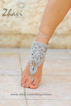 Fuß Brautschmuck Strand Hochzeit grau gehäkelt barfuß von ZHAVI