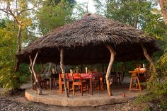 The dining area @ Selous River Camp River Camp, Dining Area, Gazebo, Camping, Outdoor Structures, Patio, Bar, Outdoor Decor, Home Decor