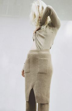 Chic Knitwear - sweater by Maison Martin Margiela, knitted skirt by Sonia Rykiel