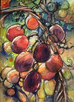 A bunch of grapes watercolour and ink Lisa, Watercolor And Ink, Drawings, Artist, Paintings, Sketches, Artists, Sketch, Painting