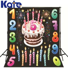1.5Mx2M(5*6.5Ft)Kate Photo Studio Backdrop Colorful Digital Birthday Cake Kate Background Backdrop Backgrounds For Photo Studio
