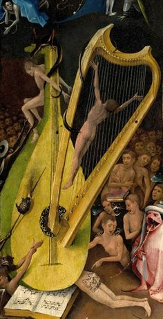 Harp from Hieronymous Bosch _Garden of Earthly Delights_ triptych. I love the detail in the painting; someday I will make a harp based on this.
