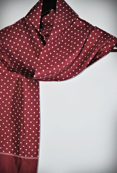 Vintage silk men long scarf / polka dots / by MRetroBoutique