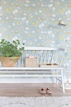 Majvillan's new Bloom Wallpaper in Grey. A delightful floral Wallpaper to brighten up a girls room. Non-Woven Wallpaper (paste the wall) Washable & Eco-Friendly Roll Size: x Repeat: Straight Match Wallpaper Paste, Kids Wallpaper, Swedish Wallpaper, Bloom, Waste Paper, Style Retro, Motif Floral, Little Girl Rooms, Scandinavian Style