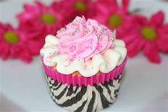 Pink Zebra Print Cupcake