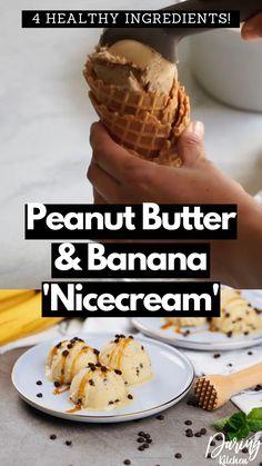 Banana Ice Cream Healthy, Banana Nice Cream, Healthy Homemade Icecream, Coconut Ice Cream, Vegan Ice Cream, Vegan Sweets, Healthy Dessert Recipes, Healthy Desserts, Vegan Dishes