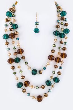 Brown and Teal Jeweled Necklace Set