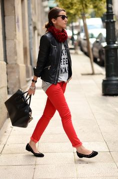 Leather jacket and red jeans