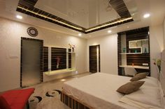 Bedroom 4 in the first floor has been designed with selective striped veneer in combination with shades of white.