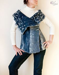 The vest - a-la denim by Vixiart, via Flickr - not sure if this is upcycled denim, but you could definitely use old jeans