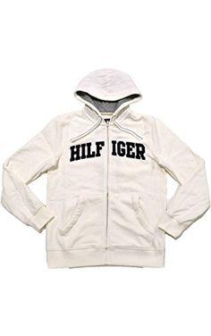 0f035d8b Tommy Hilfiger Mens Classic Full-Zip Fleece Hoodie (White , X-Small)