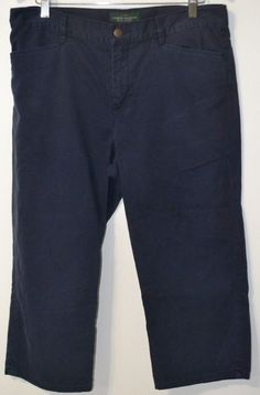 LRL Lauren Jeans Co. Ralph Lauren Women's Navy Blue Denim Cropped Capri Jeans 12 #LaurenRalphLauren #CaprisCropped
