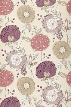 Eunonia | Floral wallpaper | Wallpaper patterns | Wallpaper from the 70s